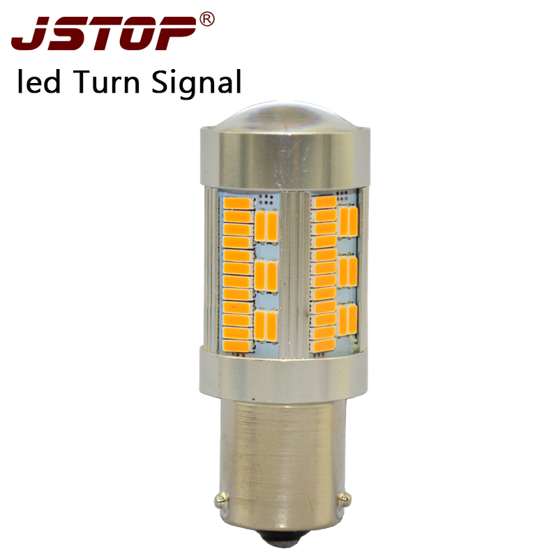 JSTOP led Turn Signal 12 24V car lights PY21W BUA15S yellow canubs 100 No error led