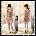 Crianças Roupas Das Meninas Rainbow Stripes Seeveless Vestido Da Menina de Verão 100% Algodão 3-14 Anos Crianças Vest Vestidos Para Adolescentes meninas
