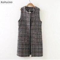 KoHuiJoo XL 3XL Plus Size Autumn Winter Women Long Wool Vest Loose O Neck Brown Tweed Vest Vintage Waistcoat Cardigan Sleeveless