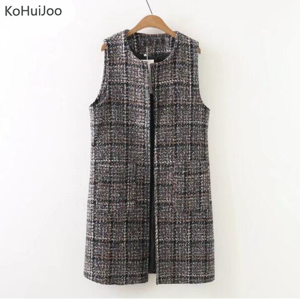 KoHuiJoo XL-3XL Plus Size Autumn Winter Women Long Wool Vest Loose O Neck Brown Tweed Vest Vintage Waistcoat Cardigan Sleeveless