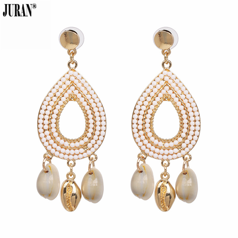 JURAN Drop Earrings Dangle Bohemian Fashion Resin Beads Earring Oorbellen Long Brinco Charm Wedding Earring Water Drop Big Ear