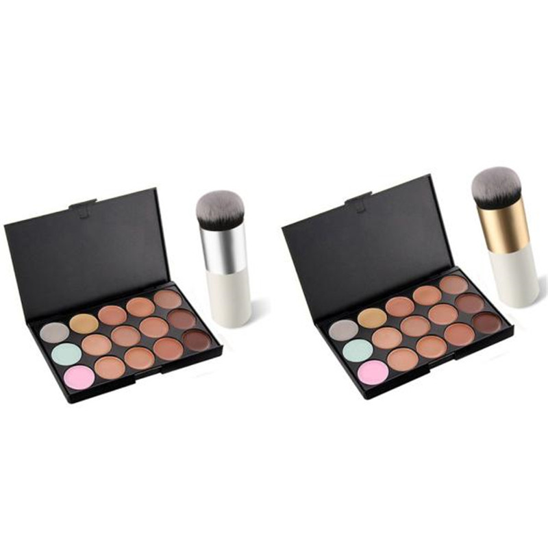 15 Colors Face Concealer Camouflage Cream Contour Palette+1 pcs Powder Foundation Makeup Brush Cosmetics Tools