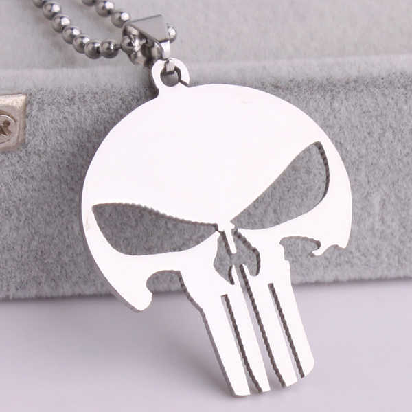 free shipping Silver Pierced skull 316L Stainless Steel pendant necklaces bead chain for men women wholesale