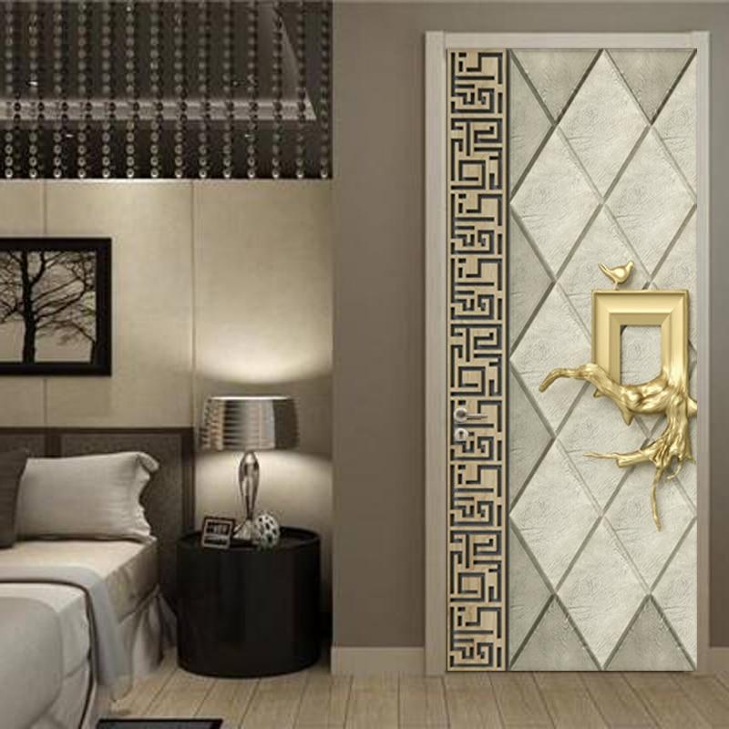 Canvas Print Self Adhesive Geometric Figure Pictures Door Decor Stickers Waterproof 3D Mural Renovation Decals For Living Room