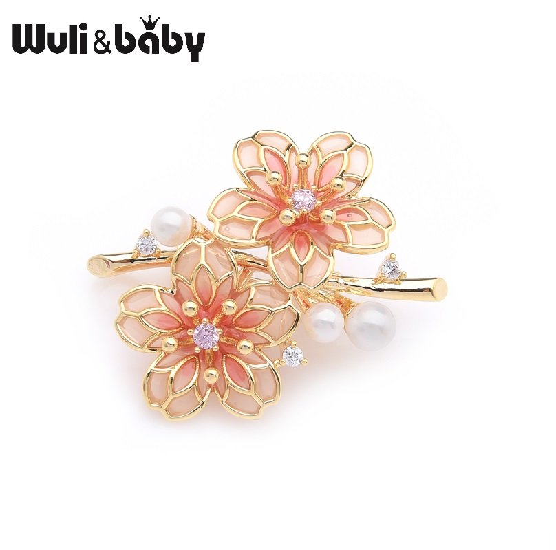 Wuli&baby Exquisite Brand Red Plum Blossom Flowers Weddings Party Brooches For Women Pins Gifts blossom flowers