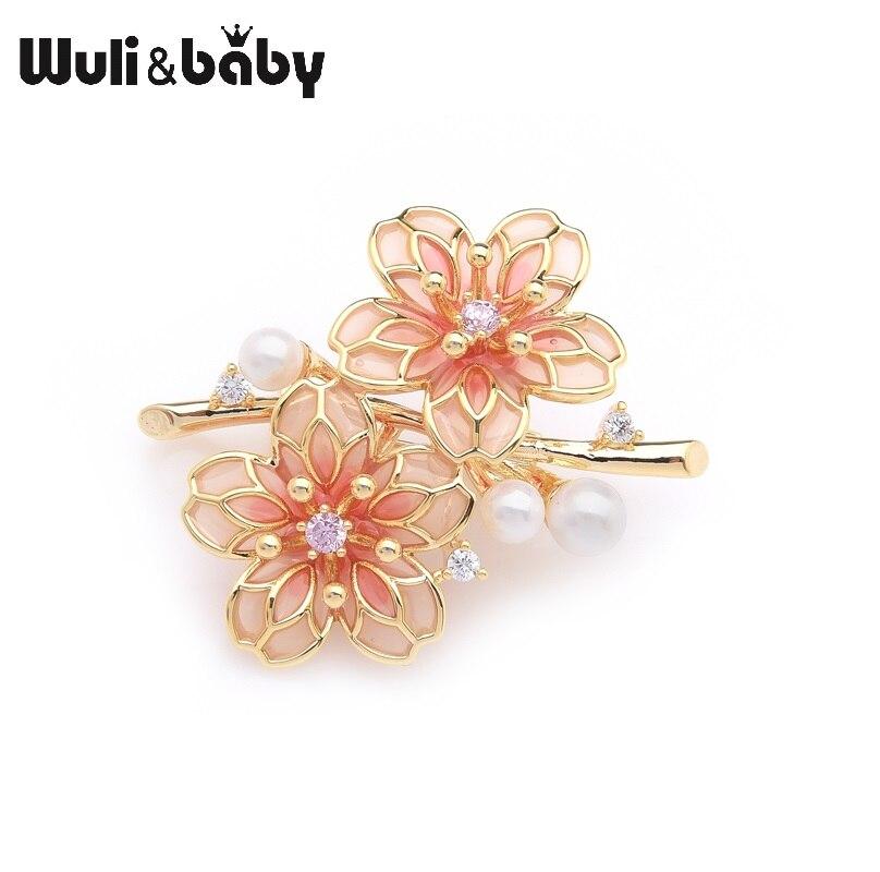 Wuli & baby Exquisite Marke Red Plum Blossom Blumen Hochzeiten Partei Broschen Für Frauen Pins Geschenke