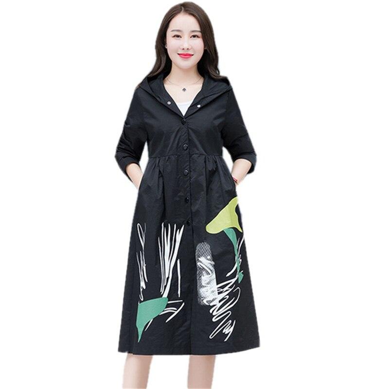 2019 Autumn New Women   Trench   Coat Single-breasted Print Hooded Womens windbreaker Loose Waterproof Raincoat Business Outerwear