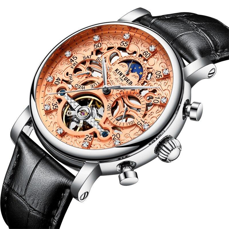 Mens Watch Leather Strap Automatic Mechanical Wristwatch Stainless Steel Waterproof Wrist Watch