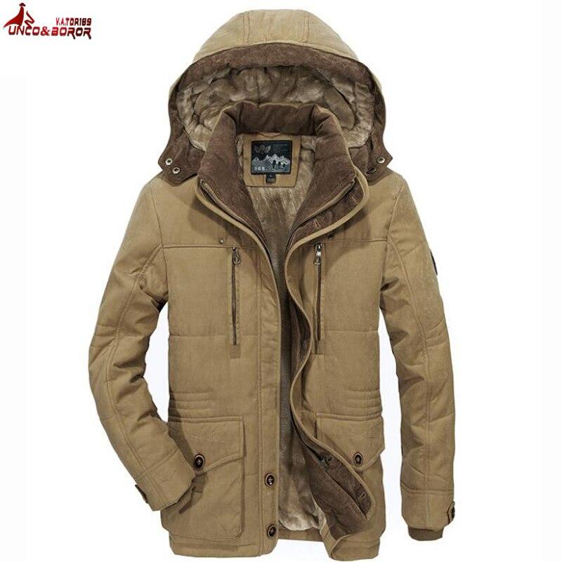 MAL et BOROR Plus La taille L ~ 5XL 6XL hiver militaire hommes outwear épais neige parka manteau coupe-vent coton lavé pardessus marque vêtements