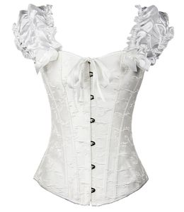 Image 2 - Puff Ruffle Renaissance Sleeves overbust Corset Strapless Jacquard wedding clothing Waist Trainer Bustier Plus Size S 2XL