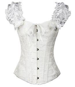 Image 2 - Корсет с пышными рюшами, с рукавами «Ренессанс», overbust, без бретелек, жаккард, свадебная одежда, тренажер для талии, Бюстье размера плюс, S 2XL