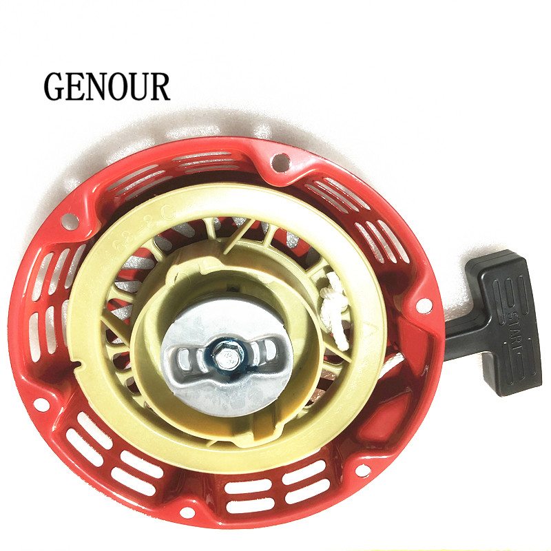gx160/gx200 RECOIL STARTER,2kw/3kw generator spare parts,168F 170F Engine pull recoil starter assembly METAL CORE 1 set recoil starter cup assembly red pull start for honda gx120 gx160 gx200 engine