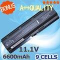 6600 mah batería para hp pavilion dv5 dm4 dv6 dv7 g6 para compaq Presario CQ32 CQ42 CQ43 CQ56 CQ62 CQ72 CQ630 G32 G42 G56 G62 G72