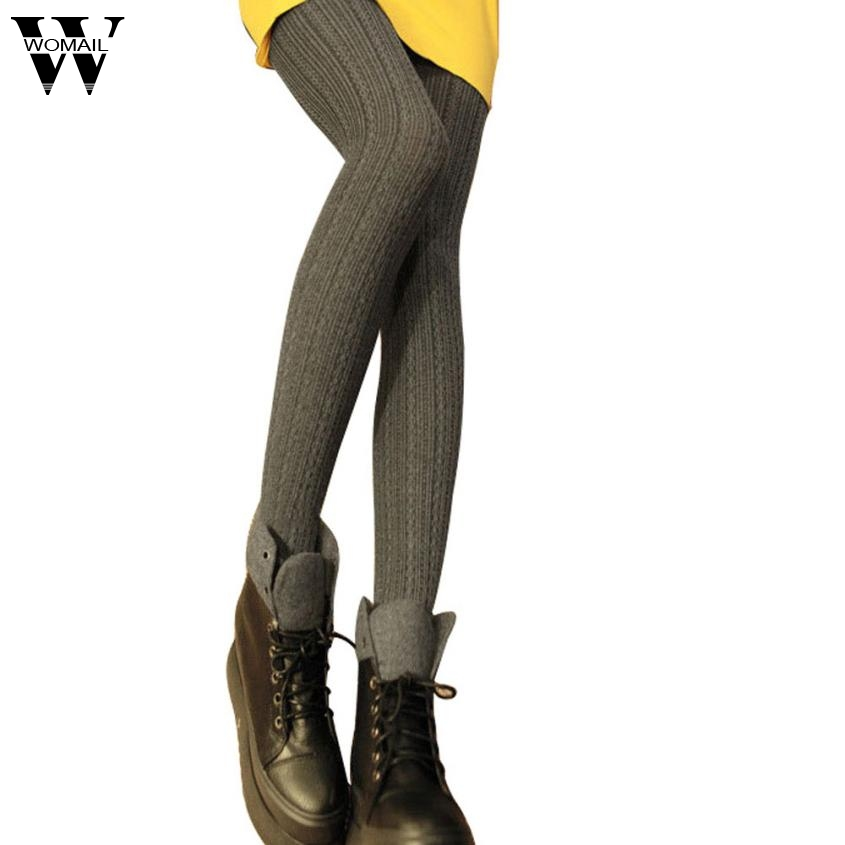 Amaizng New Autumn Winter Warm Women Lady Solid Color Knitted Slim Skinny Stretch Over Heels Leggings