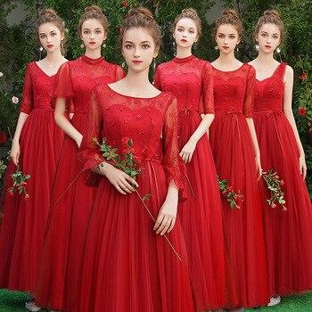 0562f9c26 Rojo largo de encaje de dama de honor vestidos Plus tamaño para las mujeres  Vestido de media manga Vestido da dama de honor