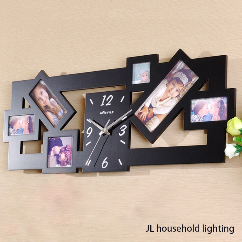 new black multi picture photo frame large number wall clock time aperture collage modern home office decor