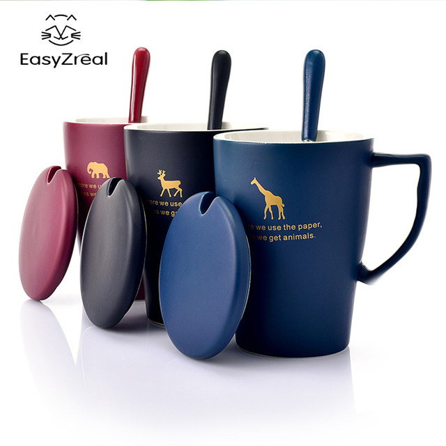 Easyzreal 400ml Creative Ceramic Milk Cartoon Animal Mug Tea Office Coffee Mugs Lid Spoon Gift Cup
