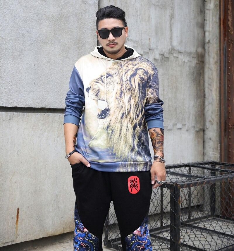 2xl-6xl 7xl 8XL printemps Hommes coton imprimé tigre Hoodies Nouvelle Arrivée Casual Automne Pulls Molletonnés Plus La Taille Sweats À Capuche hip hop