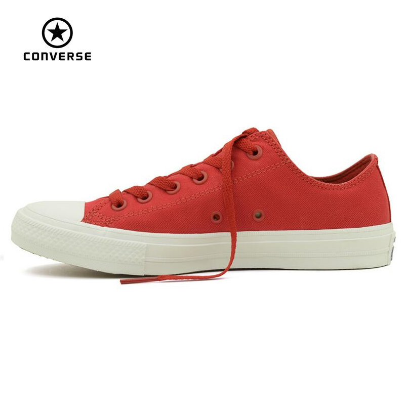 цена на Converse Chuck Taylor II  new All Star low men and women's sneakers canvas shoes Classic pure color Skateboarding Shoes 150151C