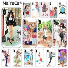 MaiYaCa Fashion coffee girl Paris New York Phone Case For iphone 11 Pro 11Pro MAX 8 7 6 6S Plus X XS MAX 5 5S SE XR 10 Capa(China)