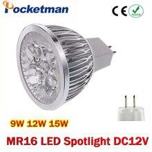 Lâmpada led de alta potência gu5.3 mr16, 9w, 12w e 15w, gu, 5.3, 1 peça lâmpada led de 12v para baixo