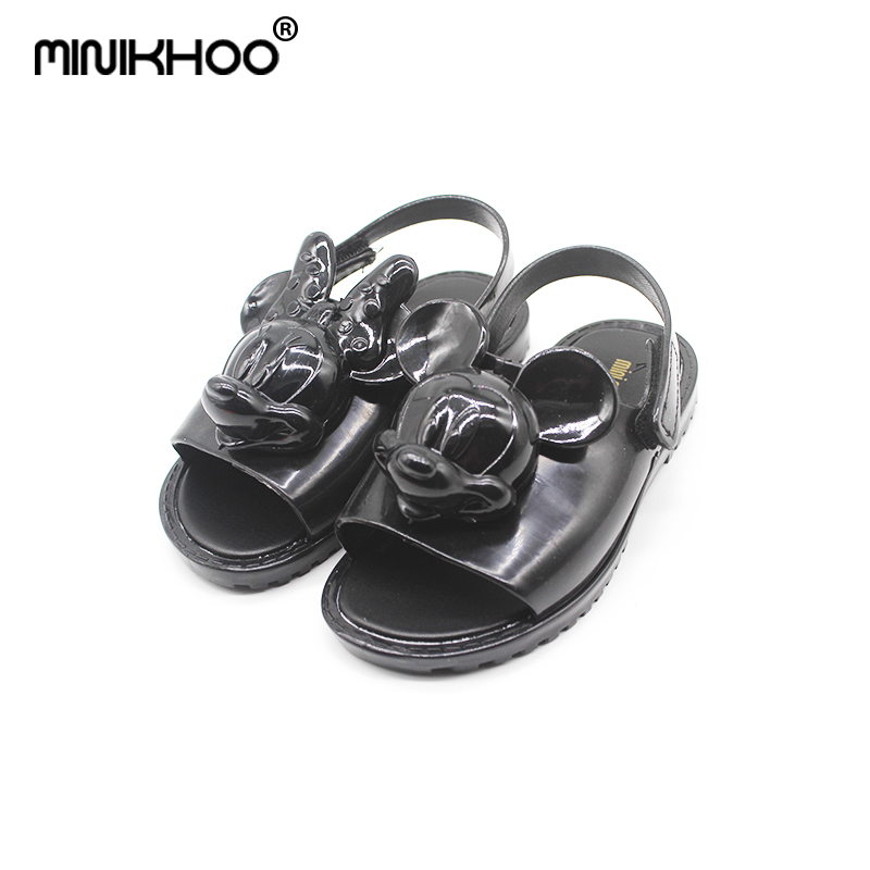 Mini Melissa Brand Quality 2018 New Mickey Minnie Head Jelly Sandals For Girls Cute Baby Sandals Girls Beach Sandals Breathable