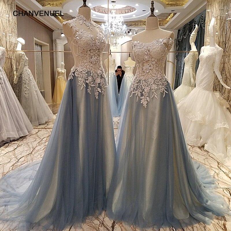 LS86542 élégant longue robes de soirée corset retour perlée tulle chérie Une ligne formelle robe robe de soirée longue réel photos