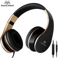 Sound Intone I65 Headphones With Microphone Portable Foldable Stereo Headsets With Volume Control For Smartphones Iphone
