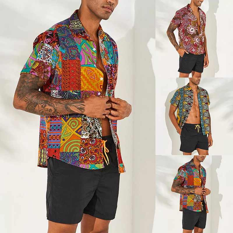 MJARTORIA Men's Retro Beach Shirt Fashion Floral Print Short Sleeve Casual Button Down Ethnic Style Shirt