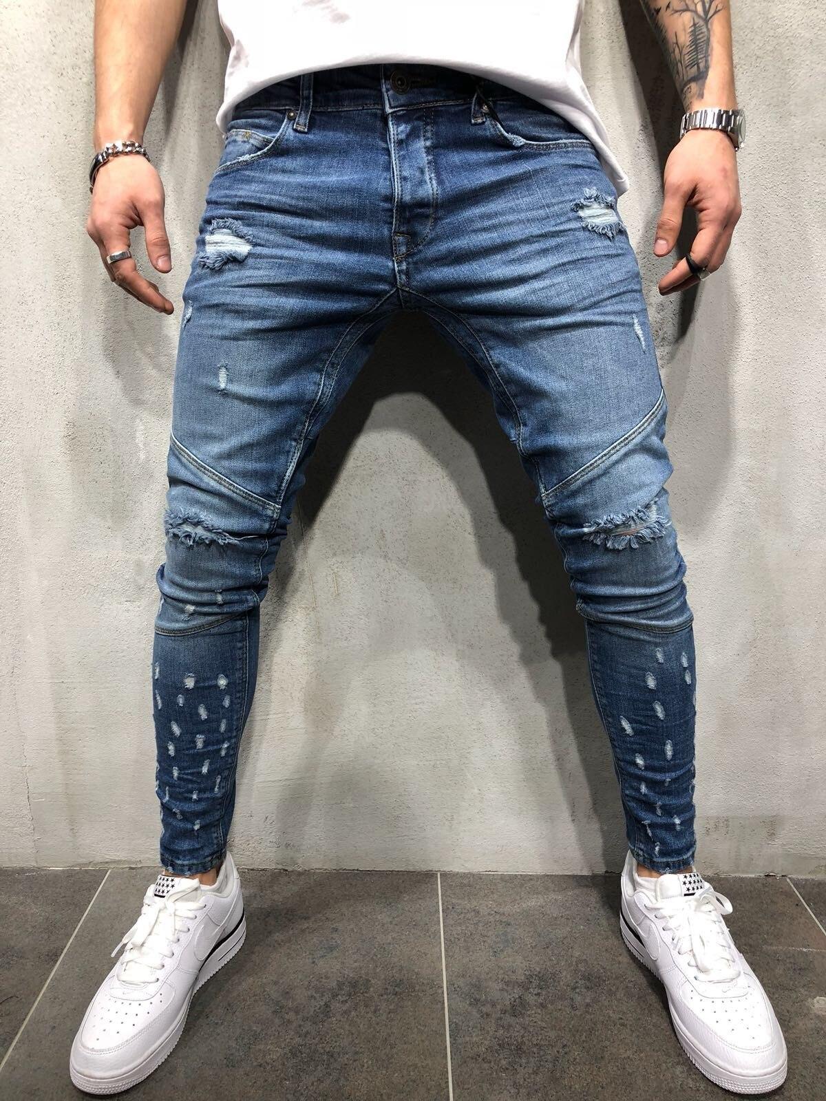 Mens Punk Jeans Jogger Hip Hop Denim Pants Biker Ripped Holes Slim Fit Stretchy