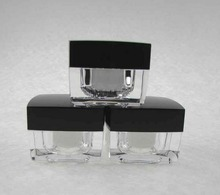 50PCS 20g white clear square acrylic cosmetics packing bottle with black cover,Cream box / bottle