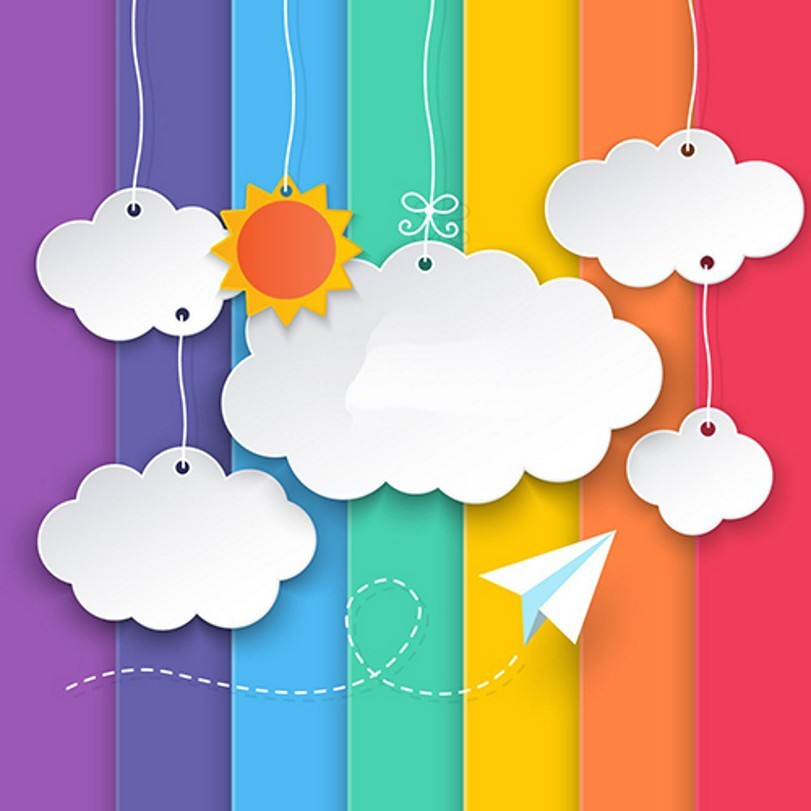 Paper Sun White Cloud Colour Colorful Background Vinyl cloth High quality Computer printed birthday backdrops