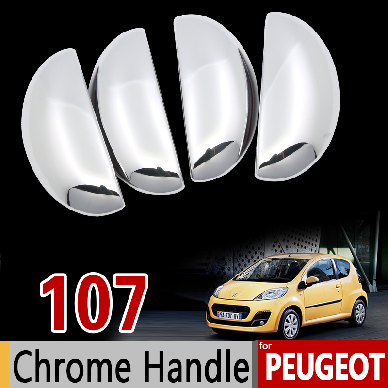 For Peugeot 107 Chrome Handle Cover Trim Set 2005 2006 2007 2008 2009 2010 2011 2013 2014 Car Accessories Stickers Car Styling