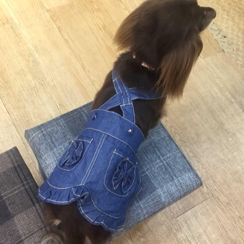 Vestido de Cão de estimação Denim Alças de Ombro-Saia do Filhote de Cachorro Roupas Para Cães Pequenos de Estilo Cowboy Macacão Vestido de Noiva Chihuahua Poodle pug