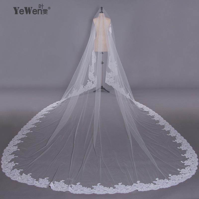 2016 New Real Bridal Long Lace Cathedral Wedding Veils 5 3 5 Meter Accessories Voile Mariage