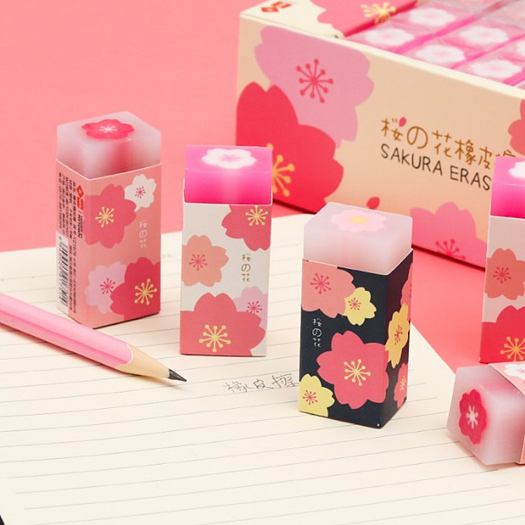 18pcs Creative Big Erasers Kawaii Lovely Pink Flower Eraser For Kids Cute Office Supplies Stationary Pink Color Pencil Erasers