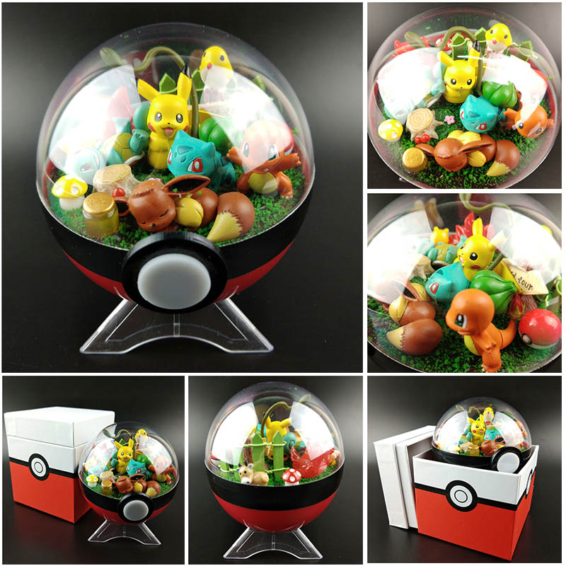 Japanese Pocket Monster Figures Pokeball Pikachu Toy Eevee Squirtle Pikachu Bulbasaur Charizard Action Figure Christmas Gift Toy