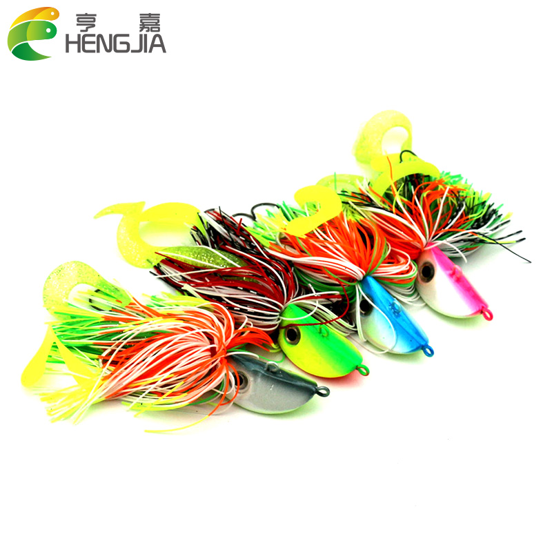 10pcs/lot 60g mixing colors Bigger Lead Head Hook with soft bait Jig Head Hook Soft Bait Lead Fishing Tackle Accessories ...