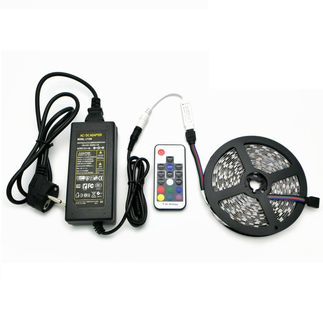 Beautiful Free Shipping L11 DC12V 5050 RGB LED Strips Set, 5m 300 LEDs Flexible Light  + Amazing Pictures