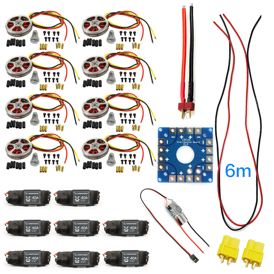 F04997-F JMT Assembled Kit : 40A ESC Controller 350KV Motor Connection Board Wire for 8-axle Drone Multi Rotor Hexacopter zy 25 diy solderless assembled 25 hole mini bread board test board multi colored 1 set