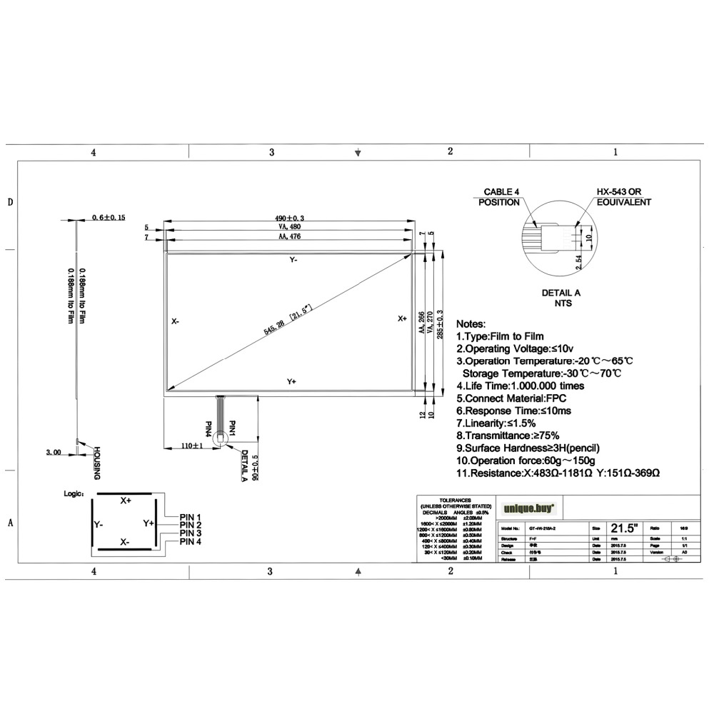 medium resolution of 21 5 inch resistive for 490mm 285mm touch screen panel 490mmx285mm 4 wire usb kit for 21 5 monitor in touch screen panels from computer office on