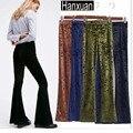 Moda feminina cintura elastric flare calças de veludo diamante skinny calças lápis europa e américa sexy mulher calças calças magros