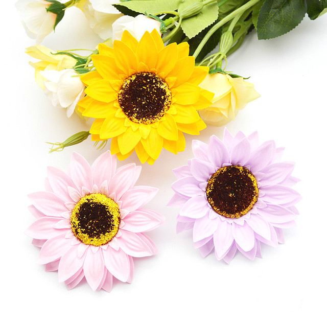 25 PCS Sunflower Soap Flower Head Bouquet Gift Box Decoration ...