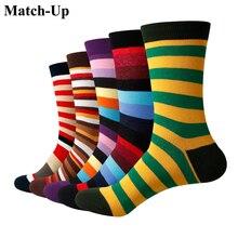 Match Up Mannen Gekleurde kleur strepen Katoenen Sokken argyle Casual Crew Sokken (5 paren/partij) US 7.5 12