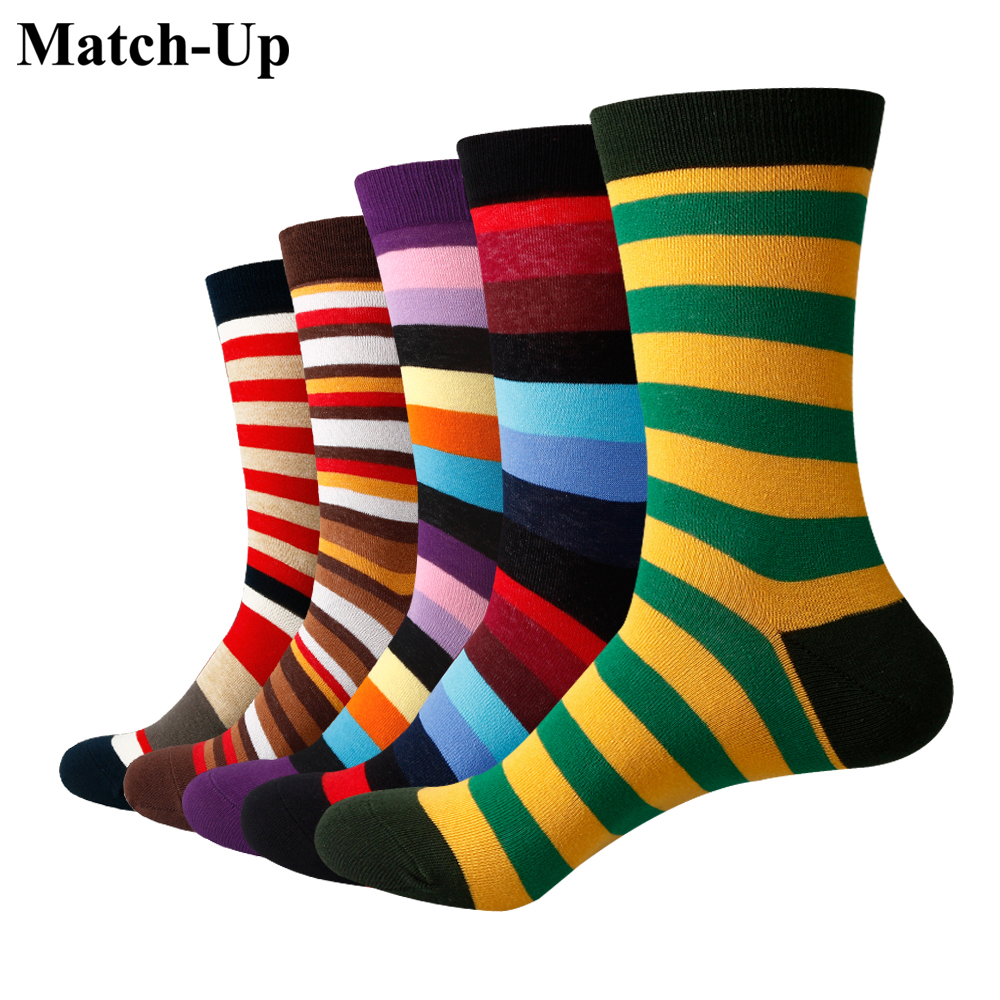 Match-Up Men Colored color stripes Cotton  Socks argyle Casual Crew Socks (5 Pairs/Lot) US 7.5-12