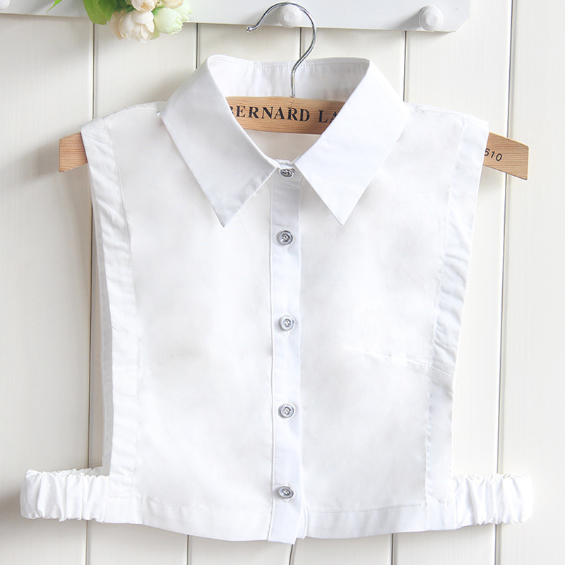New Pure Cotton Fake Collar Shirt Female Professional Square False Collar Tip White Shirt Wholesale