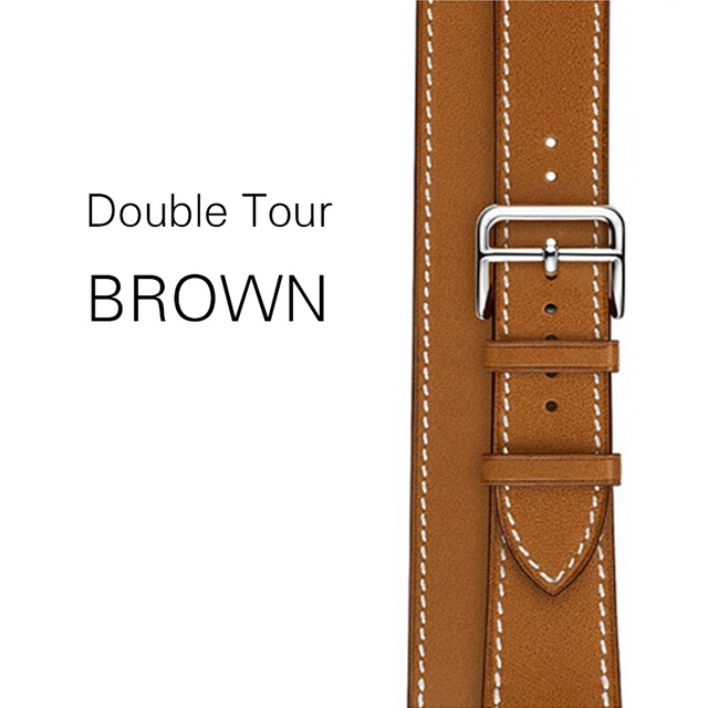 double tour genuine leather band for apple watch series 5 3 2, iwatch4 two loop band strap with replacement belt for iwatch 4 | Fotoflaco.net