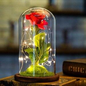 Бессмертные розы USB светящиеся романтические подарки на день Святого Валентина стеклянная бутылка искусственная красота цветок розы Домаш...