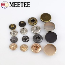 50pcs MEETEE plane mirror  metal snap button suitable for jacket clothing coat alloy surface press 12mm 15mm 17mm