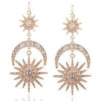 Li Fang Brand Moon Sun Drop Earrings Women Geometry Vintage Gold Color Designer Bohemian Earrings Trendy